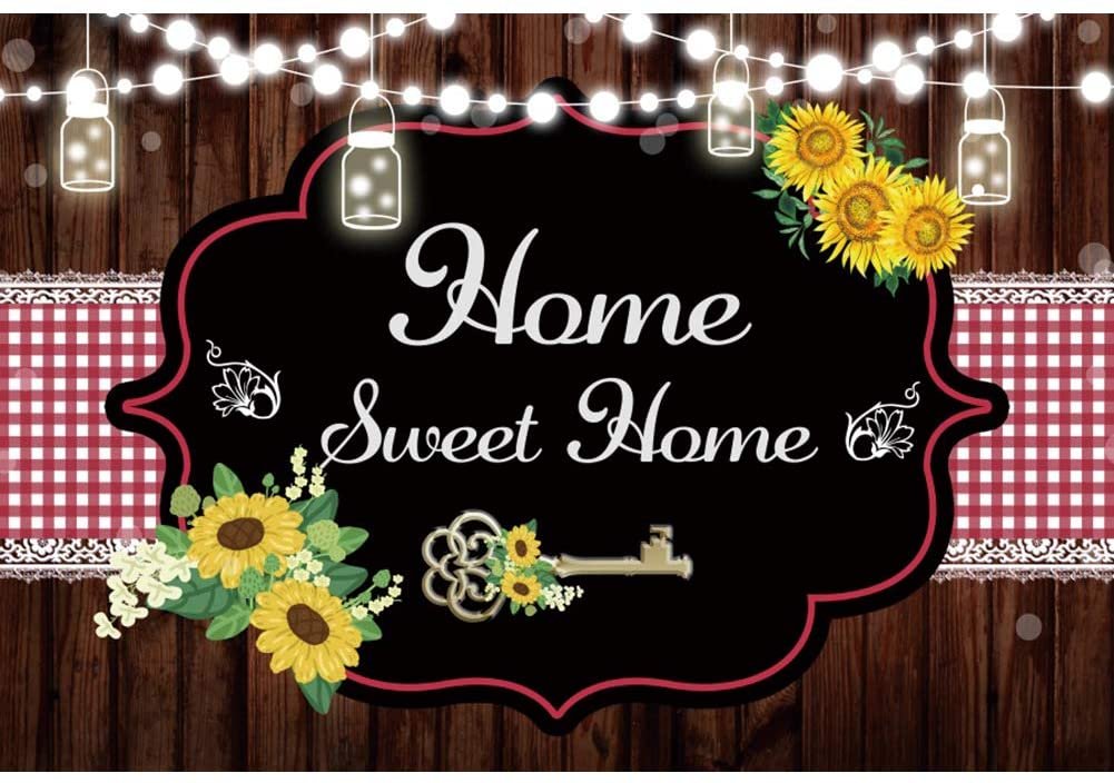 Leyiyi 10x6.5ft Home Sweet Home Backdrop Sunflower Shining Lights Bottle Sweet Home Key Wooden Board Red White Checked Cloth Background for New House Party Decorations Vinyl Photo Booth Props