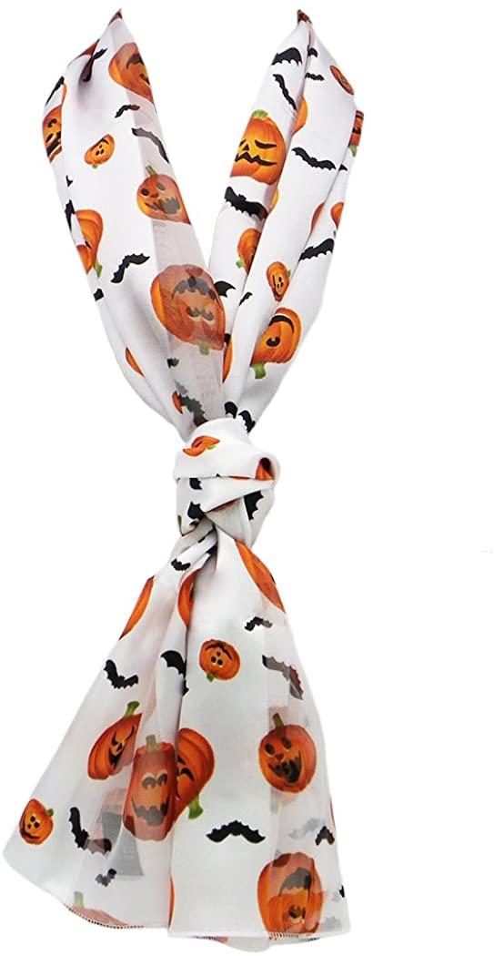 Rosemarie Collections Women's Spooktacular Halloween Fun Print Lightweight Fashion Scarf