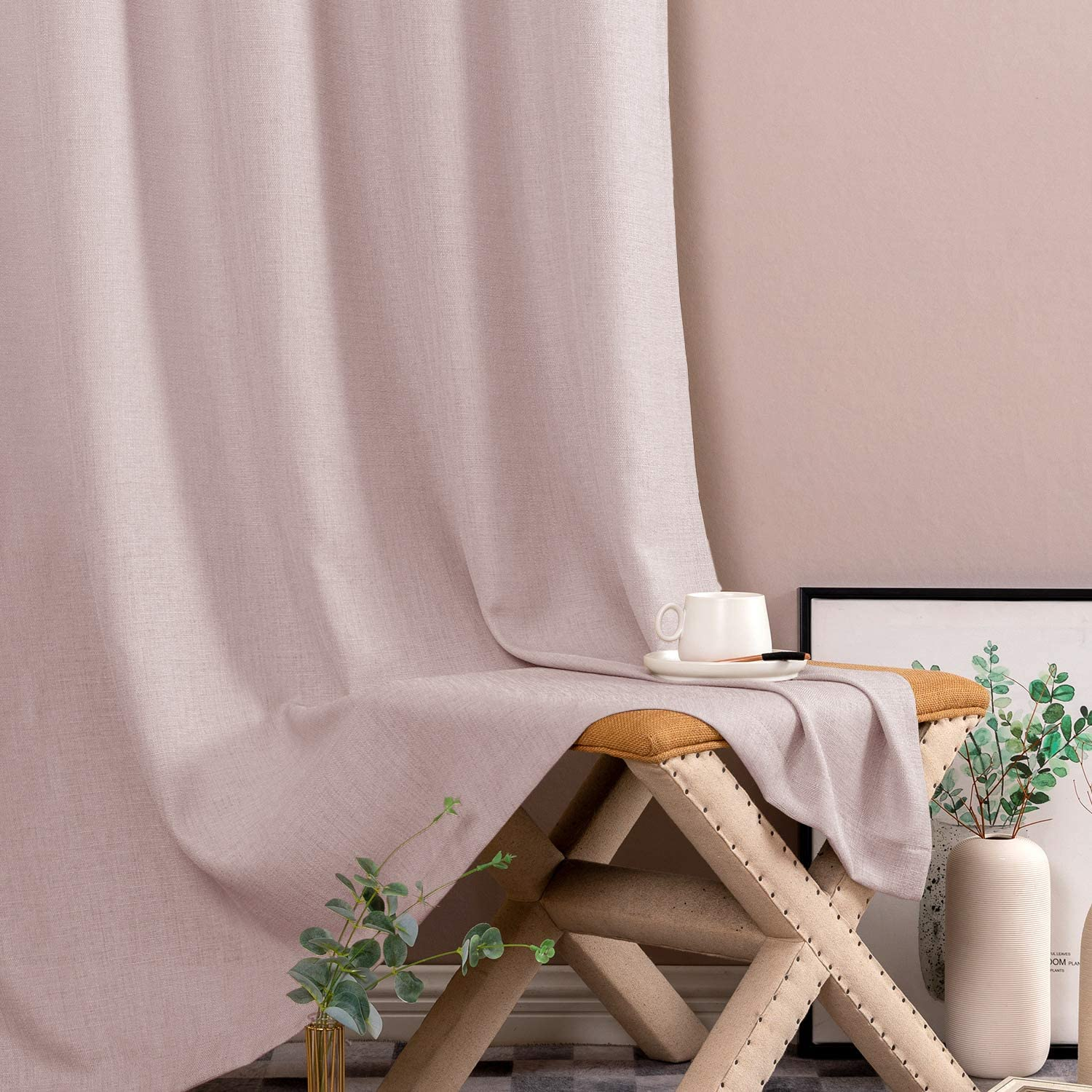jinchan Semi Sheer Curtains for Bedroom Privacy Casual Weave Window Curtains for Living Room Rod Pocket Linen Look Curtains 2 Panels 63