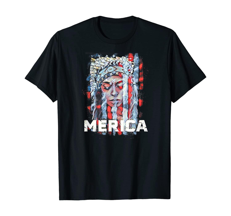 American Woman shirt Merica USA Flag patriotic gift T-Shirt