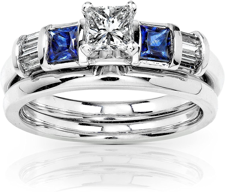 Kobelli Blue Sapphire & Diamond Wedding Rings Set 3/4 Carat (ctw) In 14k White Gold