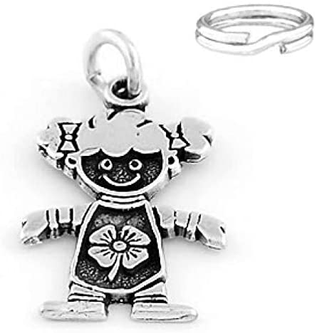 Silver Girl W/Lucky Clover Solid Charm with Split Ring from D&J