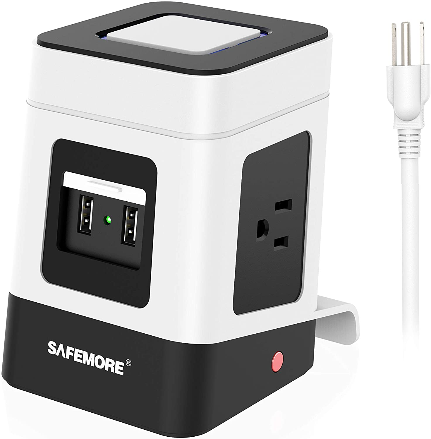 SAFEMORE USB Surge Protector Power Strip with 2 USB Charging Station,3 Power Outlet and 6.5Ft Extension Cord Power Tower for Nightstand Accessories,Tabletop, Game,Smartphone, White & Black