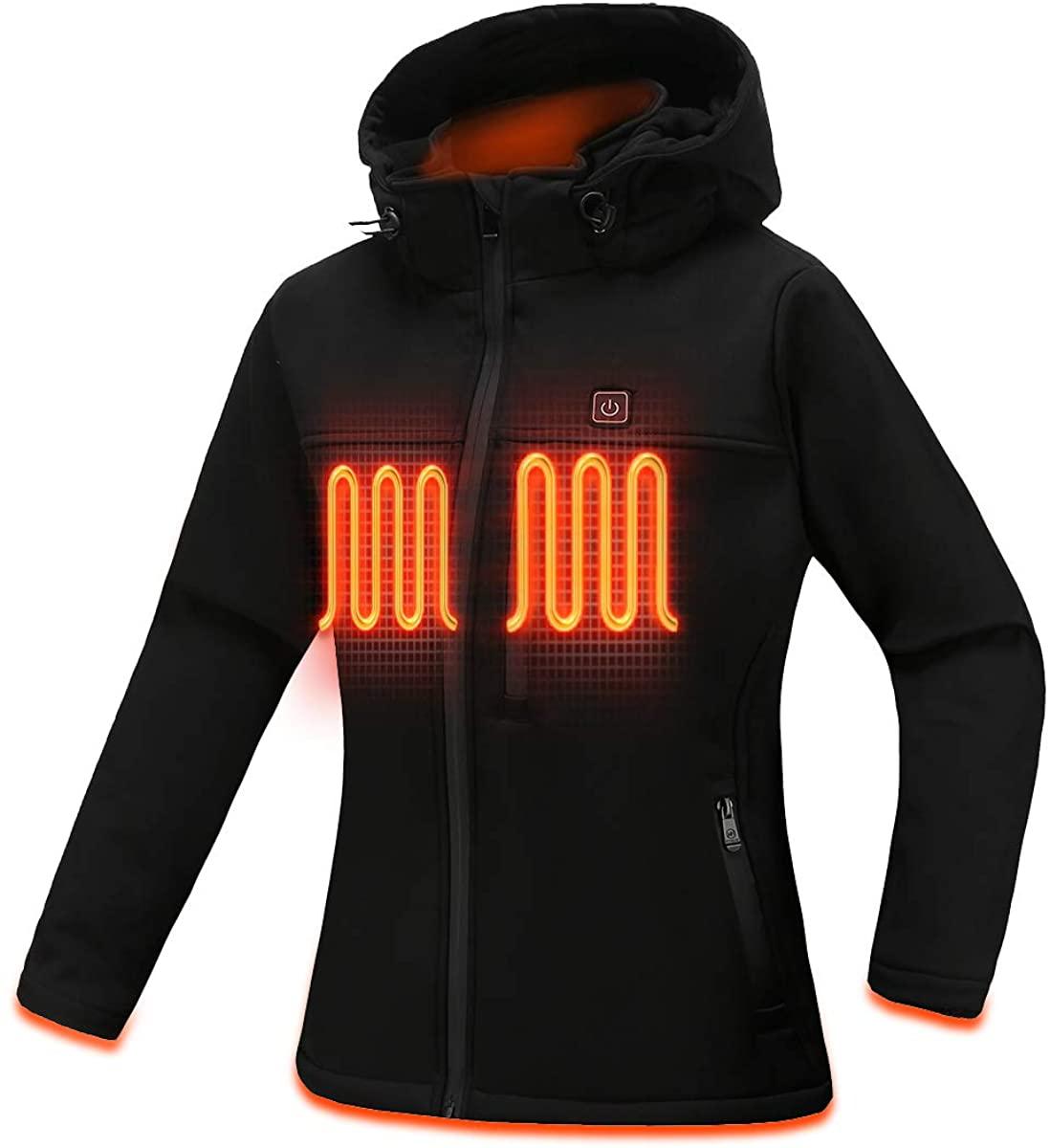 MYHEAT Women's Heated Jacket Soft Shell Eletric Heated Jacket with Detachable Hood and Battery Pack Black