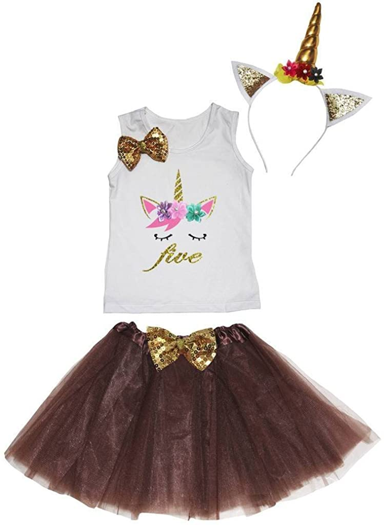 Leaf Sison Unicorn Birthday Shirt Brown Tutu Headband Costume 1-10y (Five, 5-6 Year)