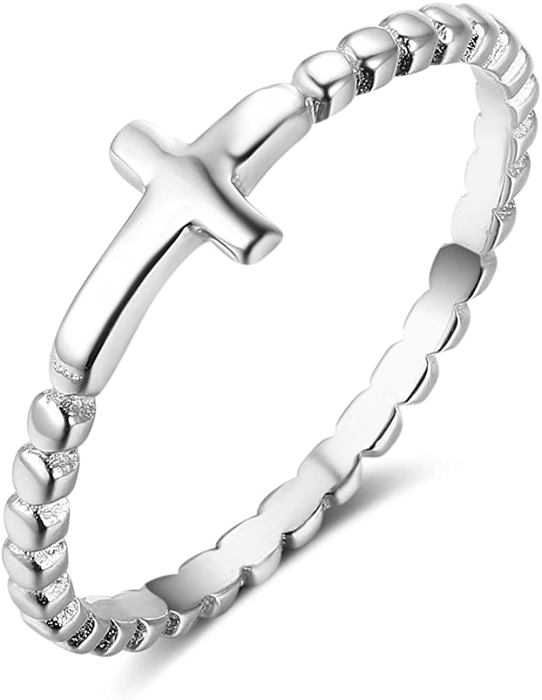 Furious Jewelry 925 Sterling Silver Simple Cross Ring, Size 6 7 8