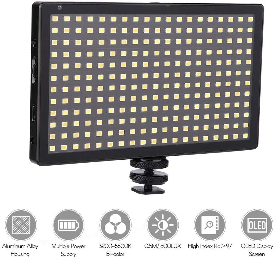 Tangxi Camera Fill Light, L28 LED Video Light 228 LED Lights for DSLR Camera Camcorder Mini DVR Fill Light CRI97+ for Camera Shooting 3200-5600K (Black)