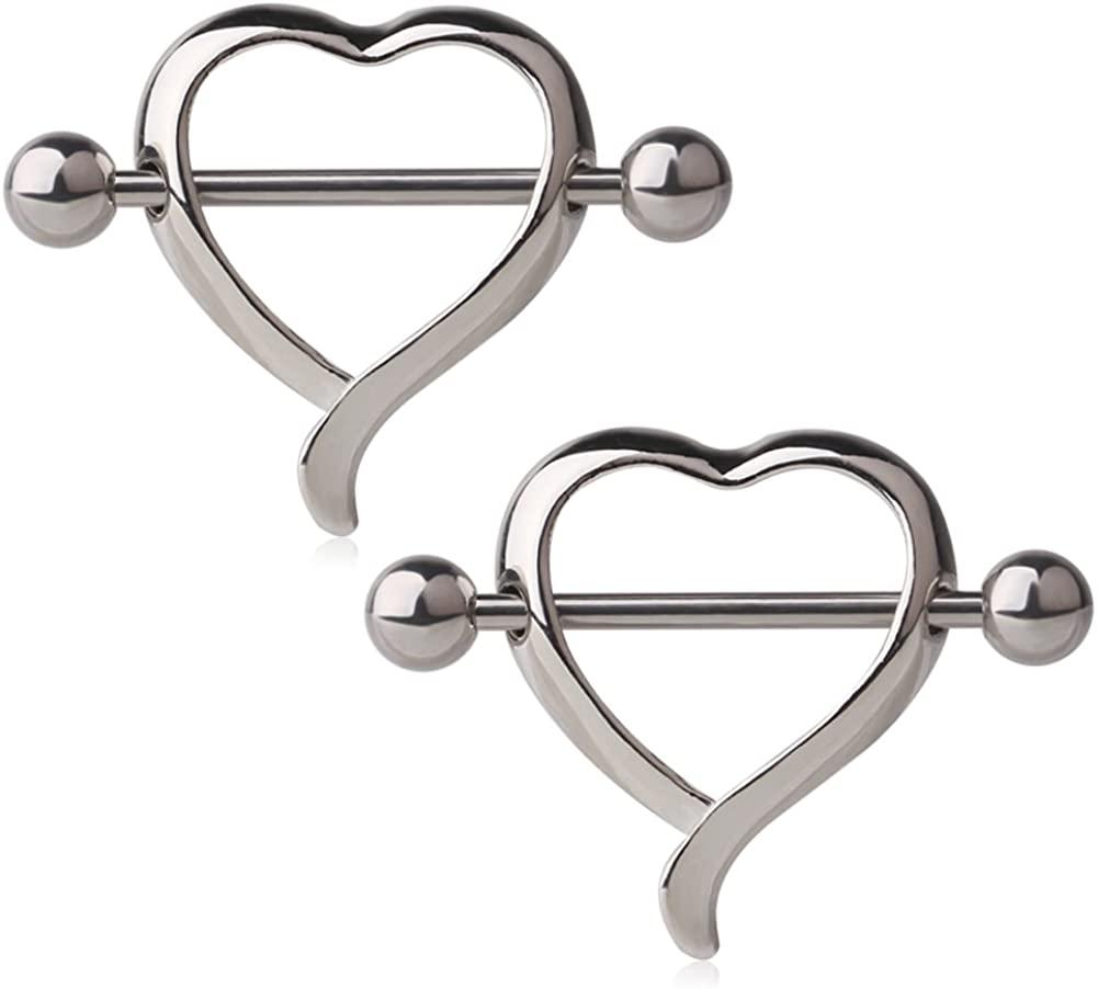 Ruifan Nipple Shield Rings Barbell Barbells Dangle Love Heart 316L Surgical Steel Body Piercing14 Gauge Sold as Pair