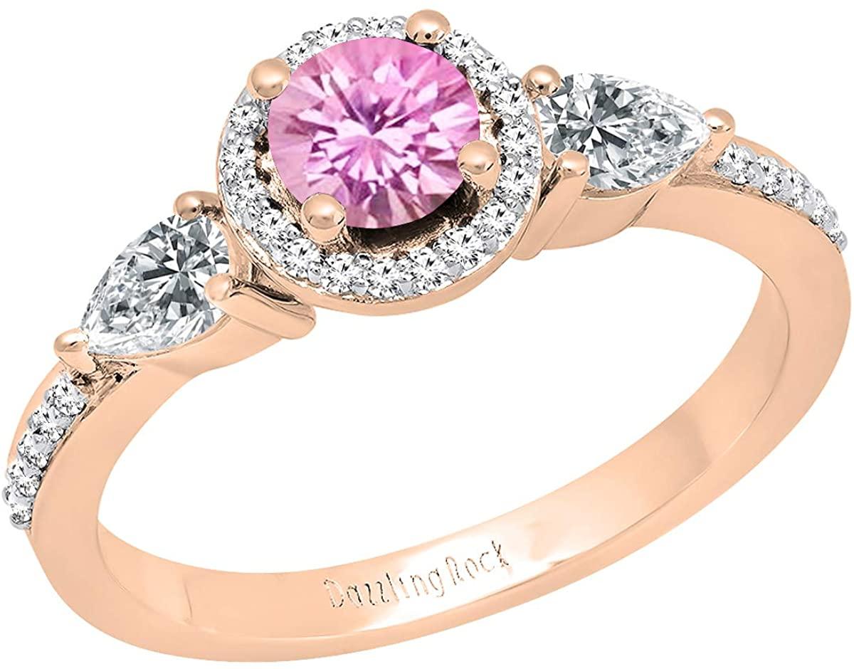 Dazzlingrock Collection 18K 6 MM Round Lab Created Gemstone, Pear White Sapphire & Round Diamond Ladies 3 Stone Ring, Rose Gold