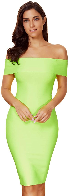 meilun Women's Off Shoulder Bodycon Bandage Midi Dress Wedding Party Dresses