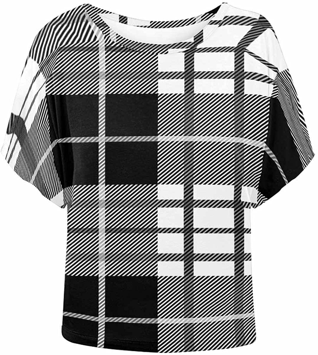 INTERESTPRINT Women O Neck Short Sleeve T-Shirt Casual Blouse Top Plaid XS
