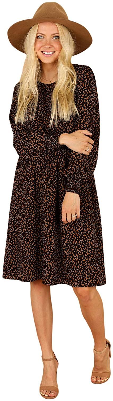 Mikarose Women's Cleo Dress Long Sleeve Elastic Waist with Pockets -Navy Print