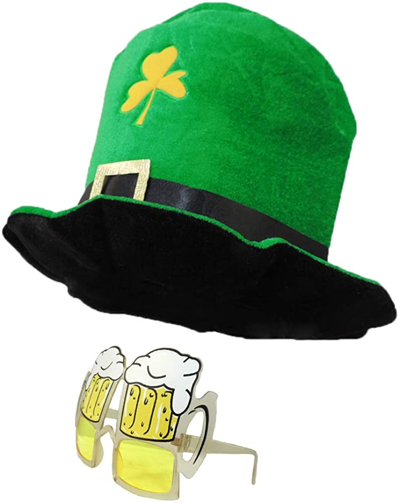 Plush Green Saint Patrick's Day Leprechaun Oversize Top Hat with Beer Glasses