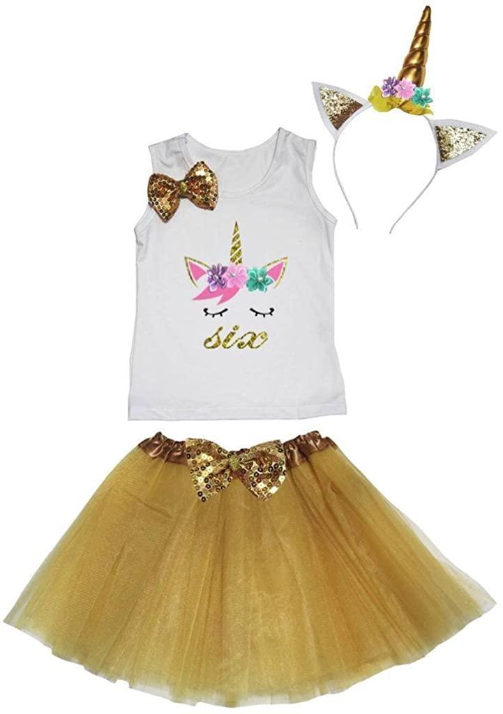 Leaf Sison Unicorn Birthday Shirt Gold Tutu Headband Costume 1-10y (Six, 6-8 Year)