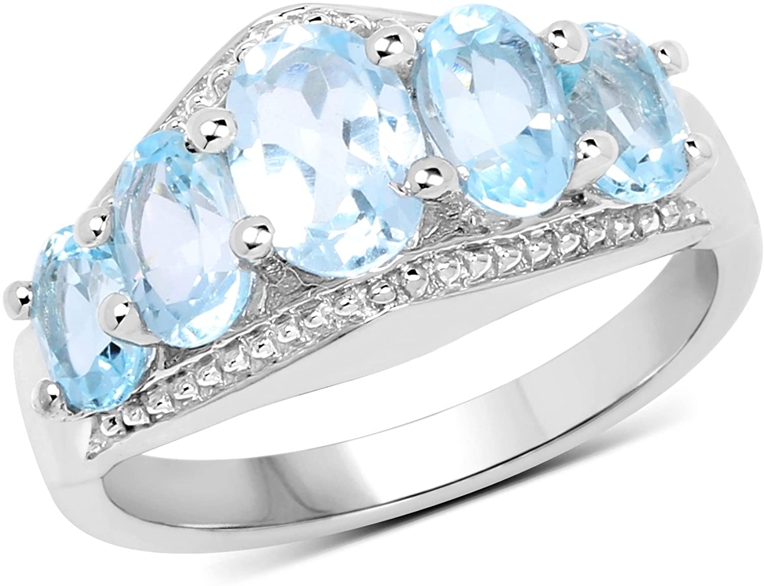 Huang and Co. 2.42 Carats Genuine Blue Topaz Ring Solid .925 Sterling Silver with Rhodium Plating