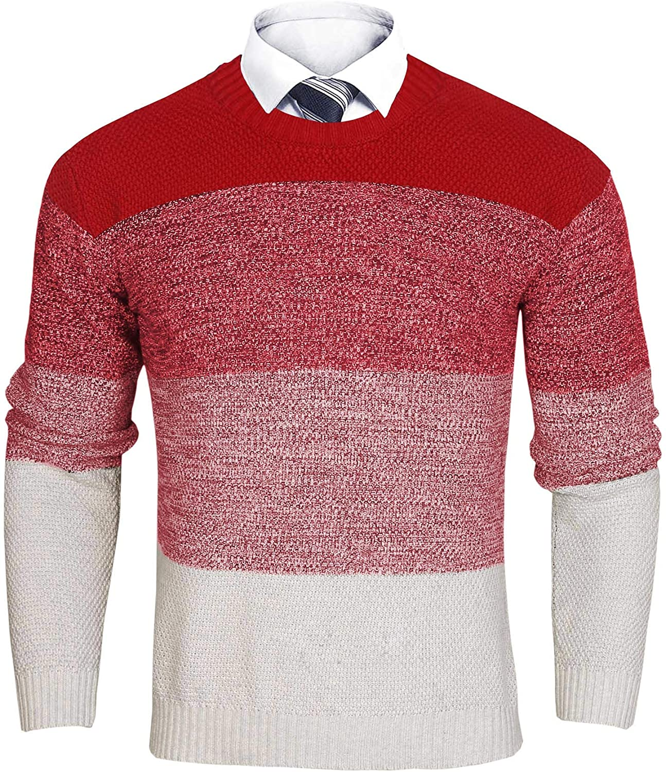iClosam Men's Casual Long Sleeve Patchwork Pullover Sweater Assorted Color Knitwear