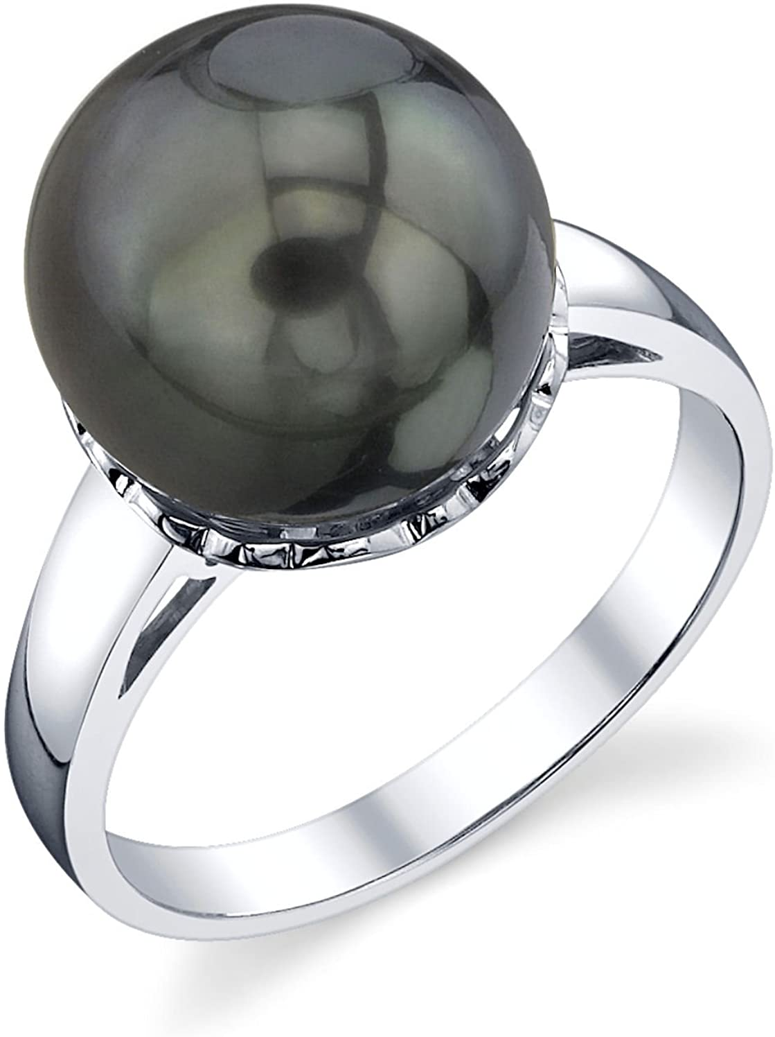THE PEARL SOURCE 14K Gold 11-12mm Round Genuine Black Tahitian South Sea Cultured Pearl Laurel Ring for Women