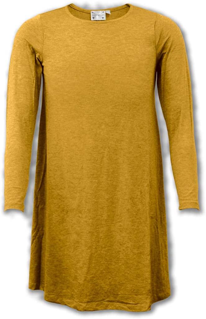 Solid Plain Mustard Yellow Cotton Knit Blend Fabric T-Shirt Dress