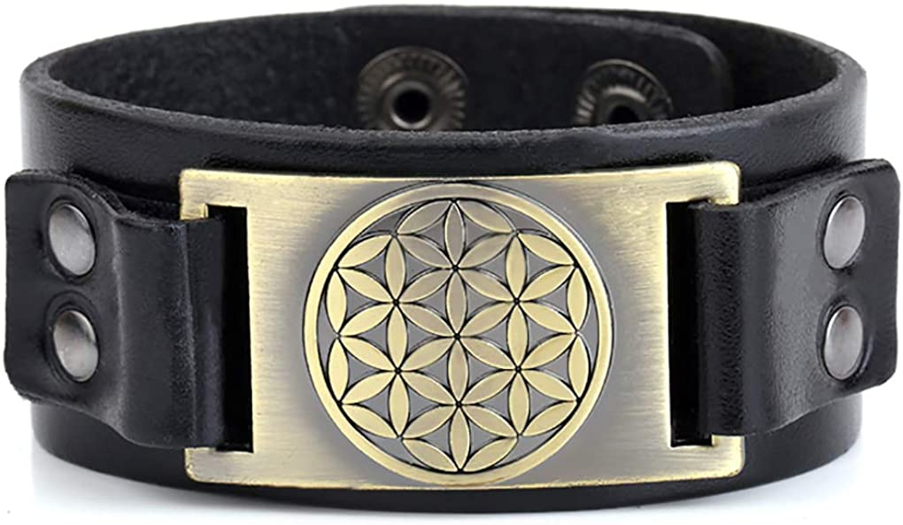 Sacred Geometry Flower of Life Talisman for Life Leather Bracelet Gift Jewelry