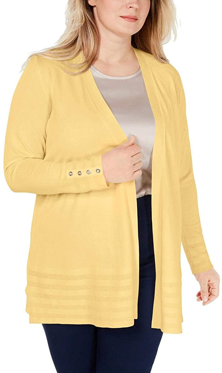 Charter Club Womens Plus Striped Open-Front Cardigan Sweater