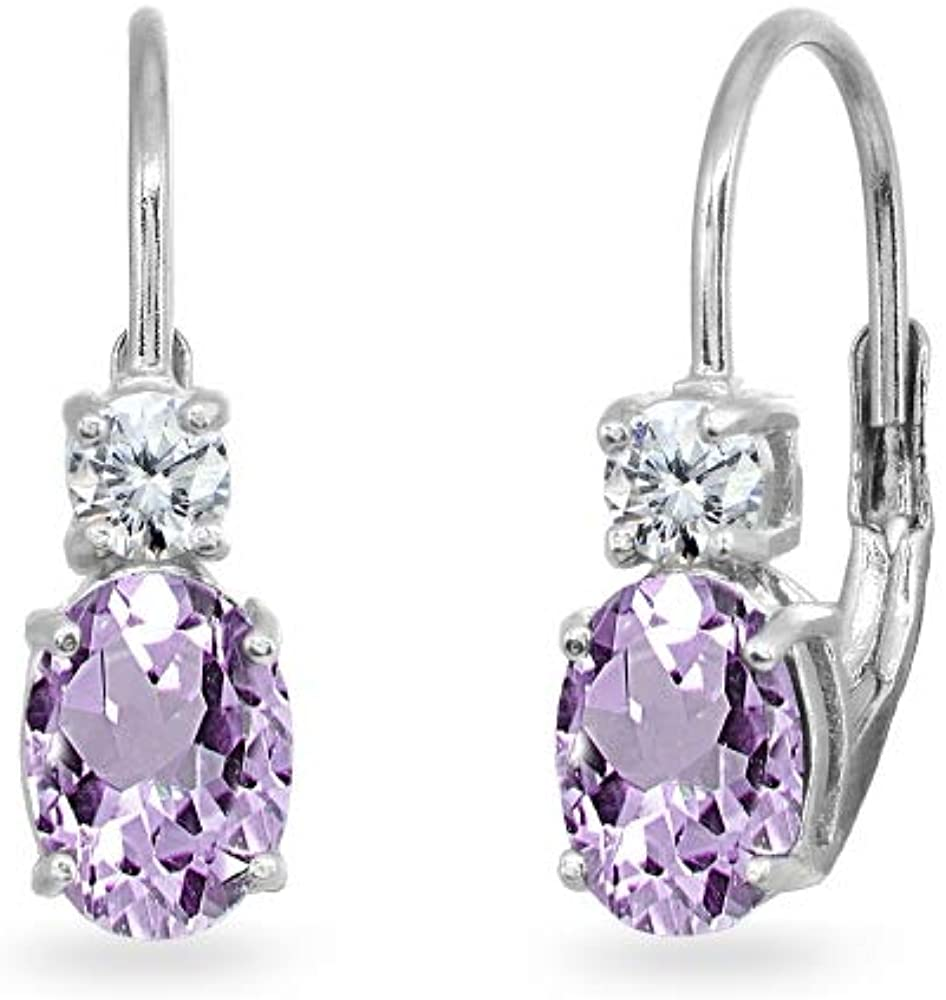 Sterling Silver 7x5mm Oval Genuine or Synthetic Gemstone & Round Cubic Zirconia Leverback Earrings