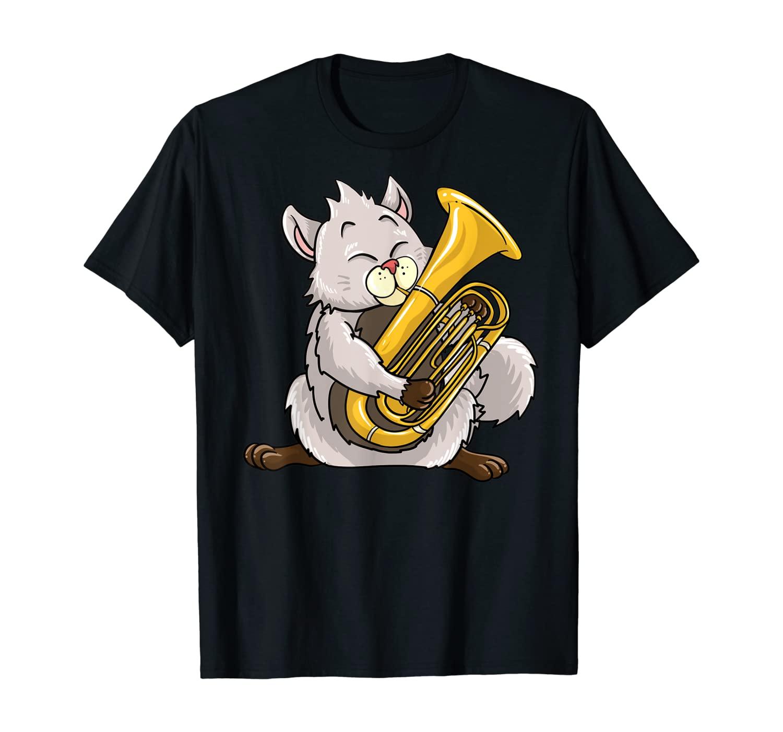 Funny Cat Playing Euphonium   Cool Love Animal Musician Gift T-Shirt