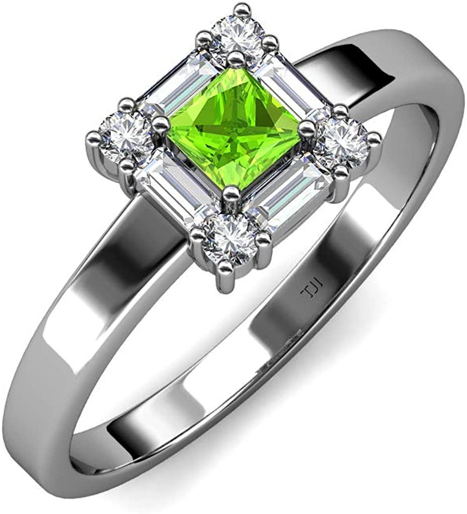 TriJewels Princess Cut 4mm Gemstone and Diamond Womens Halo Promise Ring 14K White Gold