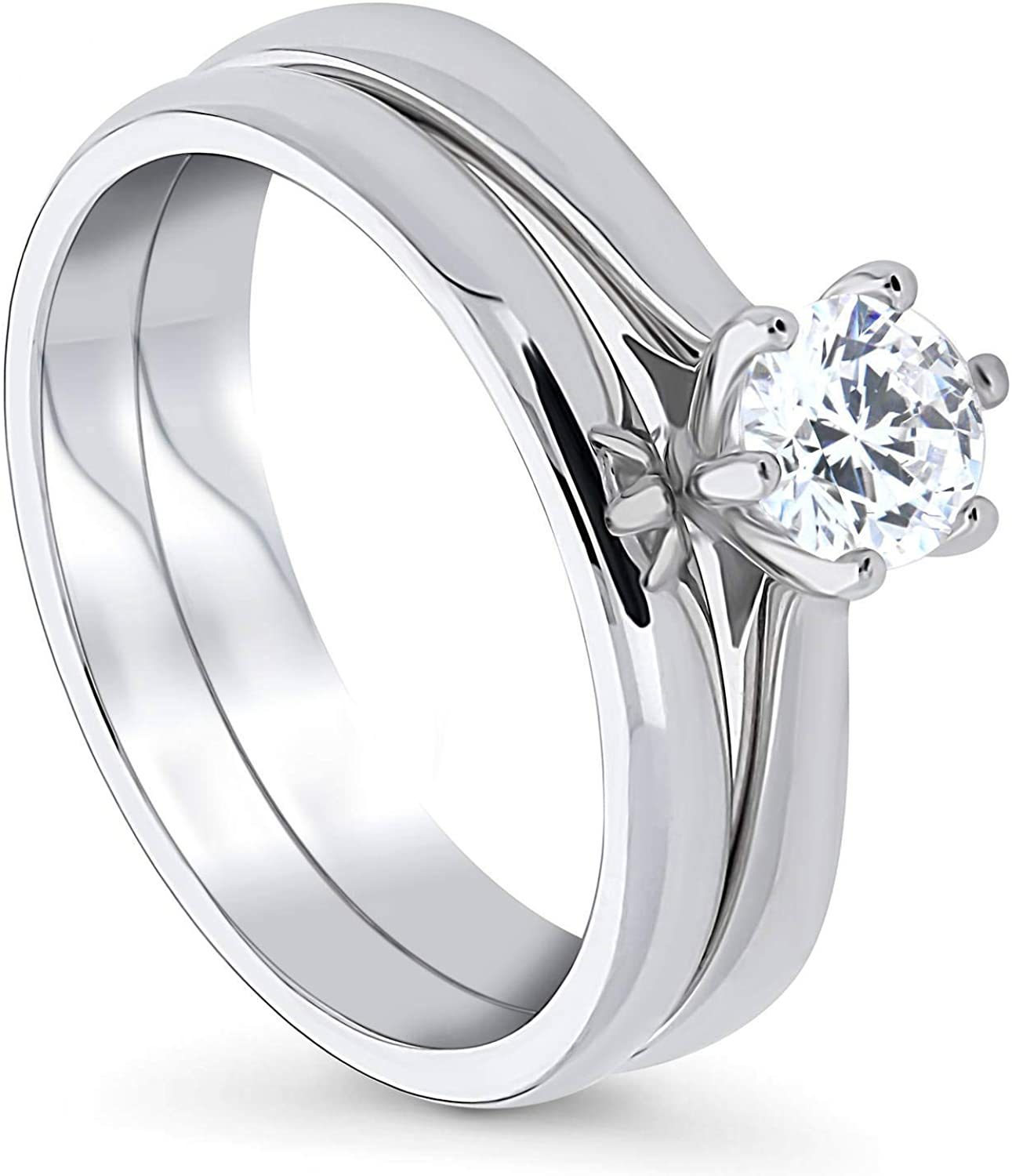 BERRICLE Rhodium Plated Sterling Silver Round Cubic Zirconia CZ Solitaire Engagement Wedding Ring Set 0.46 CTW