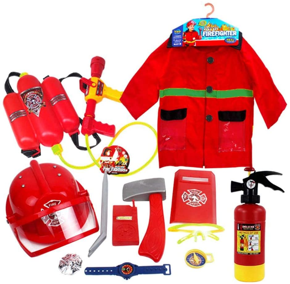 Children's Firefighter Role Play Costume and Accessory Set, Costume Pretend Play Dress-up Toy Set,12 Pcs Pretend Play Fireman Kit Kids Boys Girls (Light Set, Small (3-6 Years))