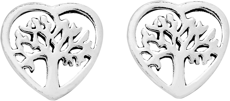 True Heart Cover Tree of Life .925 Sterling Silver Stud Earrings