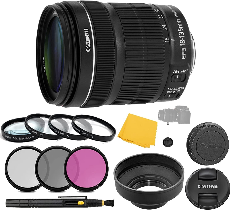 CanonEF-S 18-135mm f/3.5-5.6 is STM Lens + 3 Piece Filter Set + 4 Piece Close Up Macro Filters + Lens Cleaning Pen + Pro Accessory Bundle - 18-135 mm STM: International Version