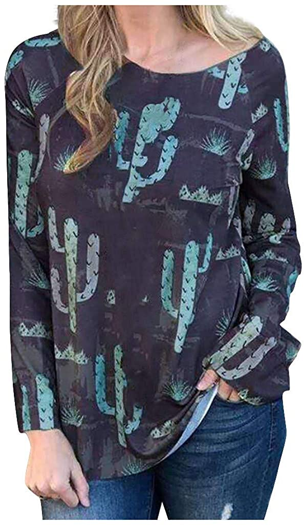 Women' Cactus Graphic Shirts Graphic Printed Crewneck Long Sleeve Shirts Casual Loose Tops Plus Size.S-5XL.Camisas