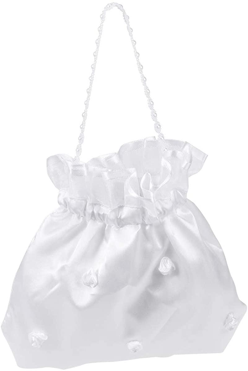 ULTNICE Satin Money Bag Bridal Wedding Dolly Bag Party Handbag (White)