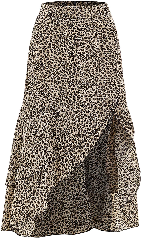 Verdusa Women's Asymmetrical Ruffle Hem Leopard Print Skirt
