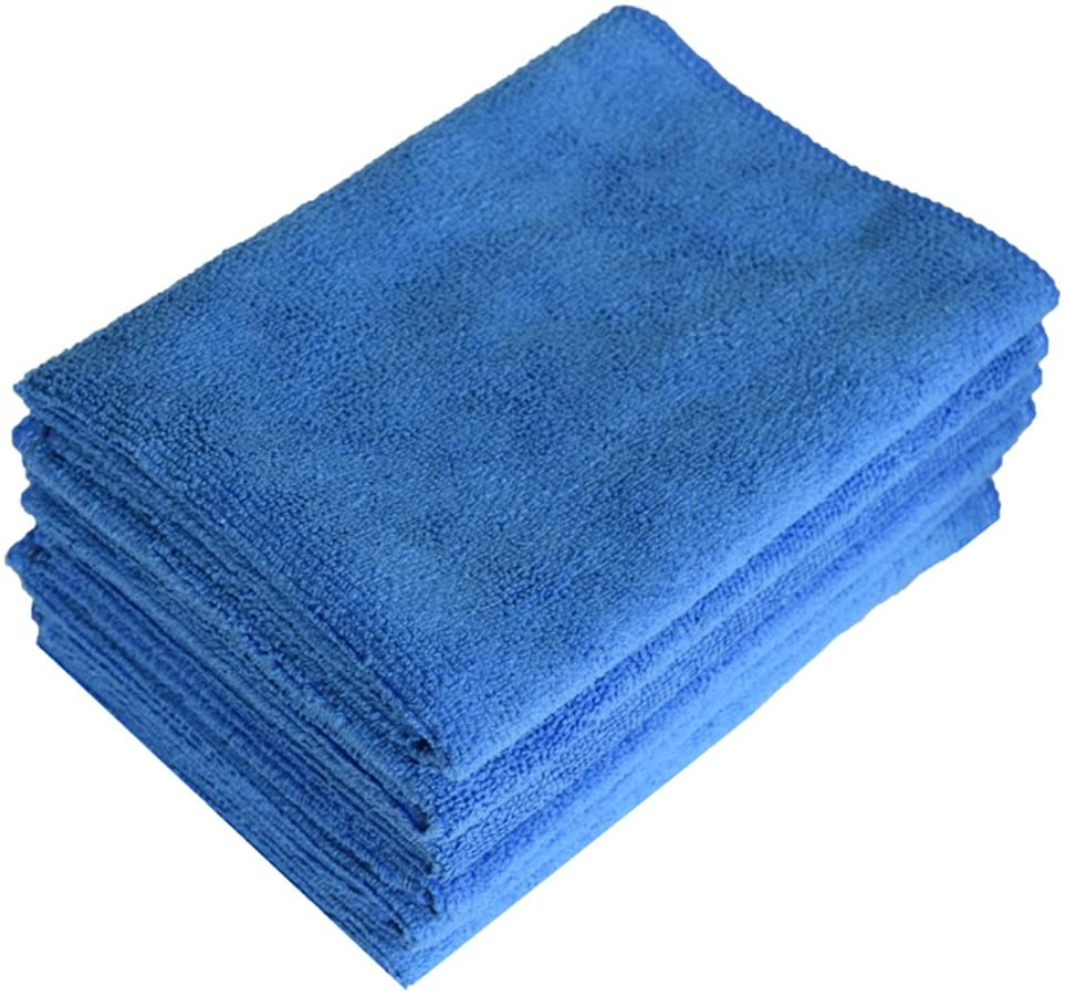 Microfiber Cleaning Cloths, Towel for Cars, Windows, Mirrors, Laptop Computer Screen, iPhone, iPad and More. 6 Pack 16 x 16 by Pacific Linens (Blue)