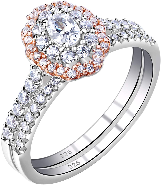 Wuziwen Womens Oval Cut Wedding Ring Sets Cubic Zirconia Rose Gold Sterling Silver Engegement Rings