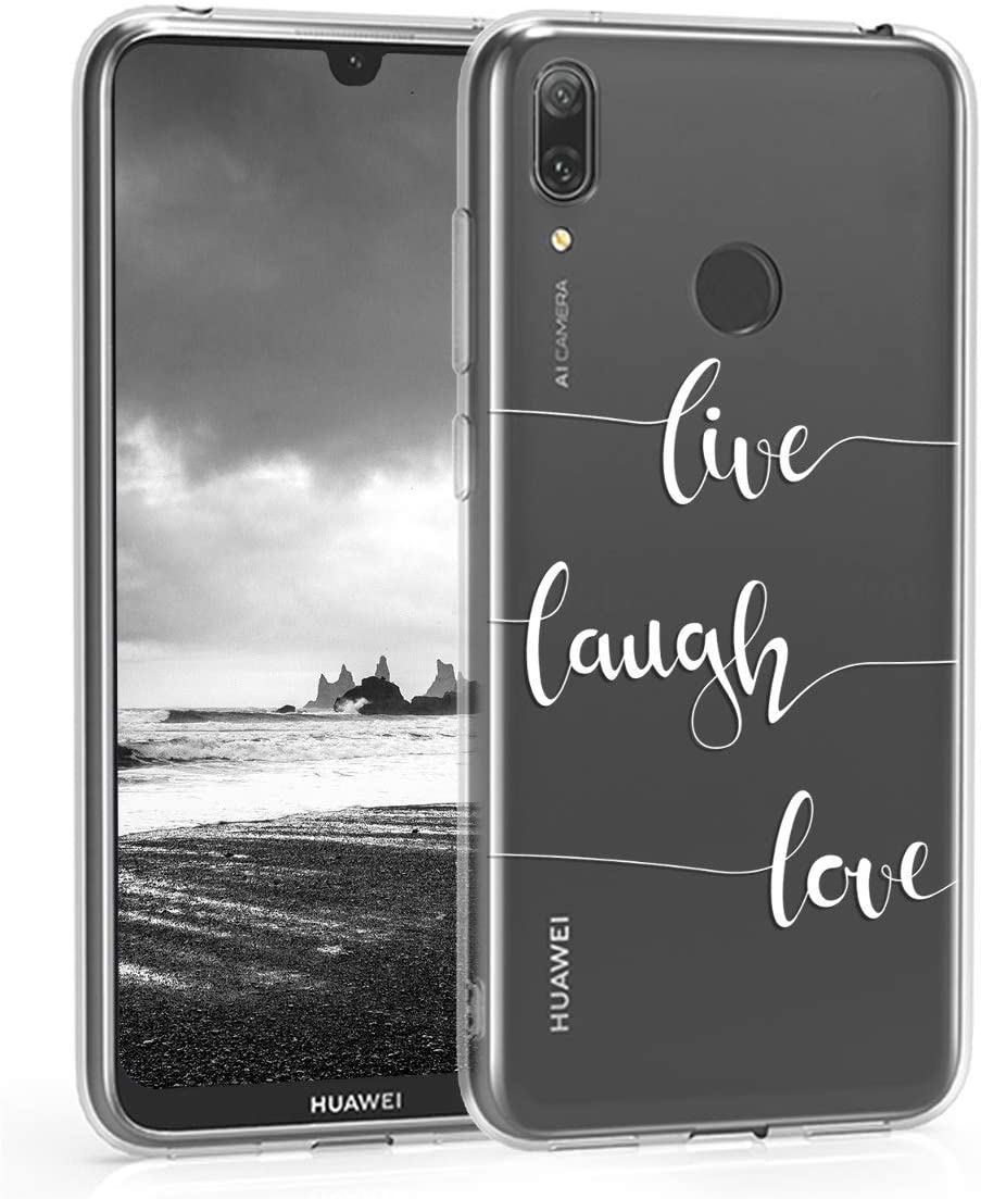 kwmobile Clear Case Compatible with Huawei Y7 (2019) / Y7 Pr. (2019) - TPU Smartphone Backcover - Live, Laugh, Love White/Transparent