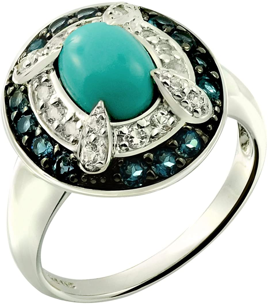 RB Gems Sterling Silver 925 Ring Genuine Turquoise and London Blue Topaz 2.44 Carats with Rhodium-Plated Finish