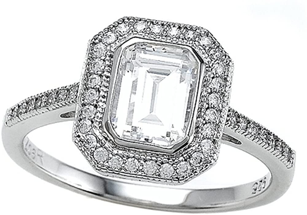Zoe R Sterling Silver Micro Pave Hand Set Cubic Zirconia Halo Emerald Cut Center Engagement Ring