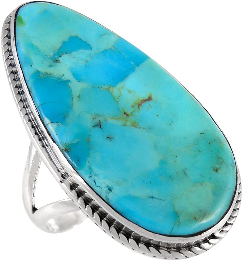 Turquoise Ring in Sterling Silver 925 & Genuine Turquoise Size 5 to 12 (Choose Style)