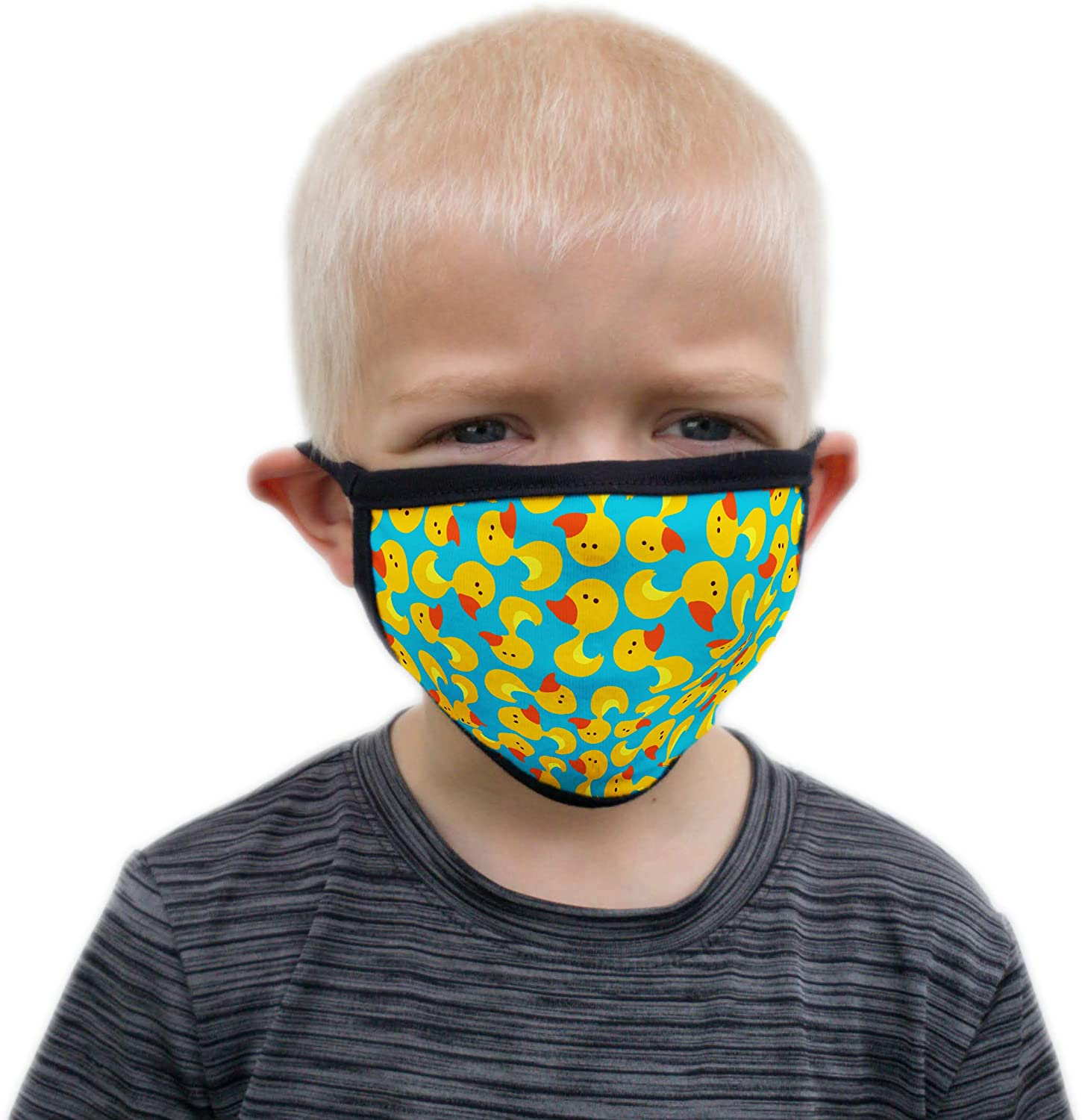Buttonsmith Rubber Ducks Child Face Mask with Filter Pocket - Quantity 1 - for Ages 3-5 - Fade and Bleed Proof Design - Two Layer Soft US-Made Material - Washable - Made in The USA