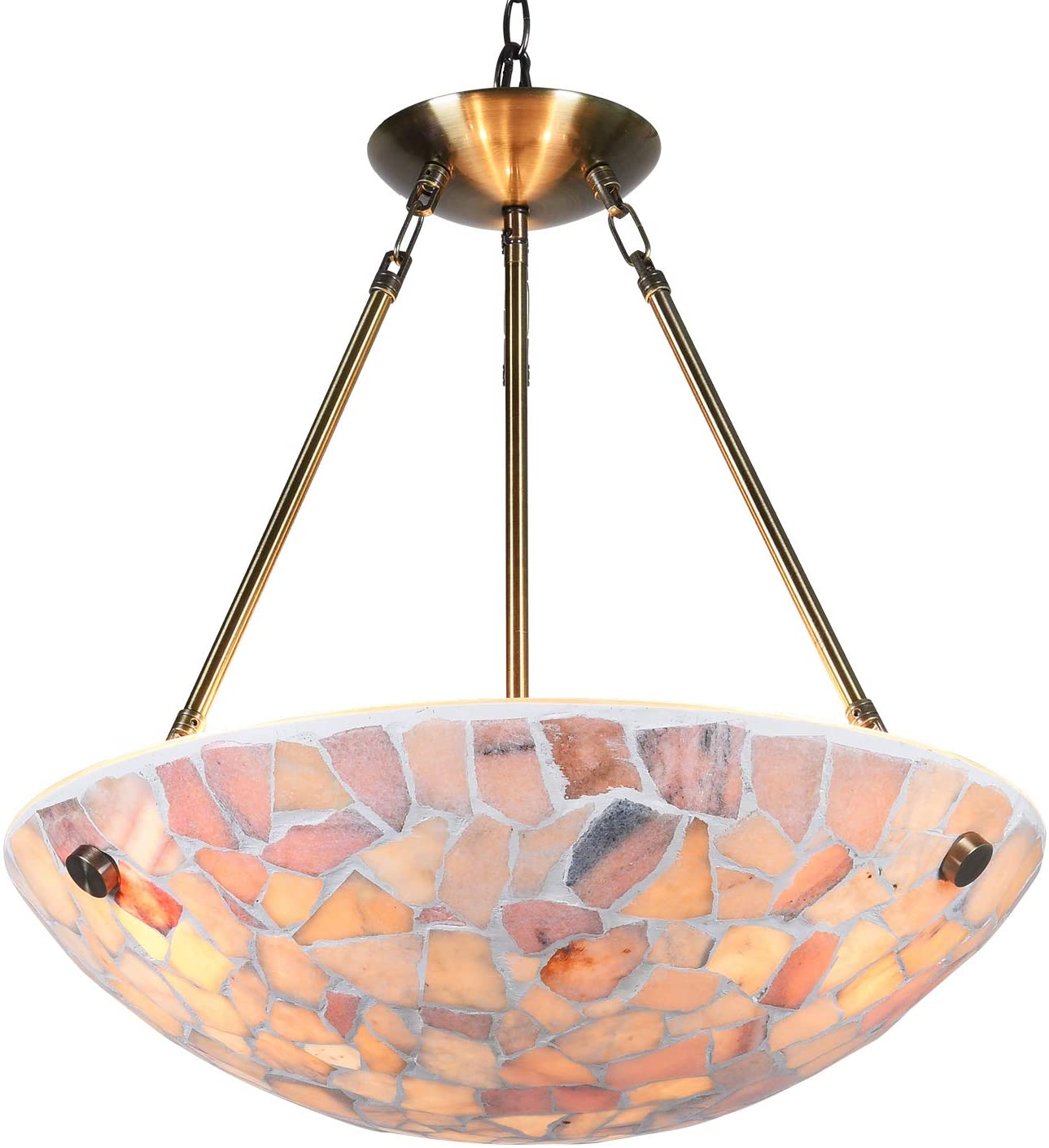 Artzone Natural Stone Mosaic Pendant Lighting for Kitchen Island, Pendant Light, Dining Room Lighting Fixtures Hanging (20PU1004)