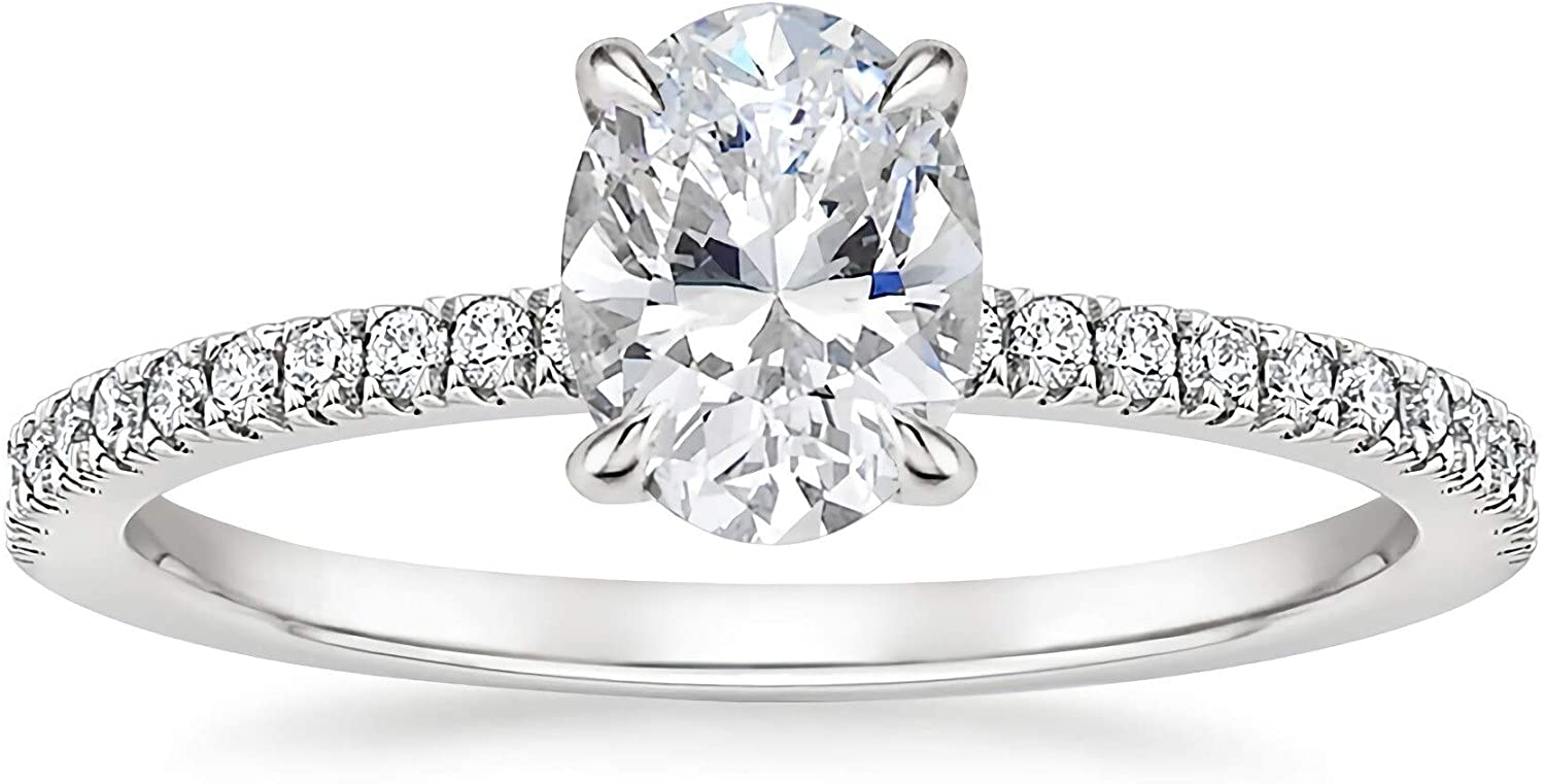Engagement Ring Side Stone Moissanite Engagement Rings for Women Platinum Plated Silver Free Engraving