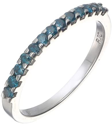 1/6 cttw Blue Diamond Ring .925 Sterling Silver 13 Stones (Sizes 5 to 9)