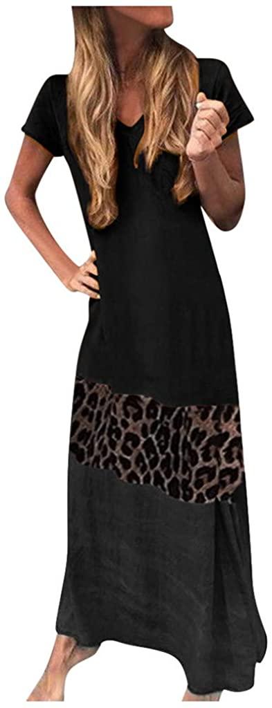 Summer Dresses for Women Maxi,Women's Short Sleeve Cami Maxi Dresses Spaghetti Strap Wave Point Summer Casual Beach