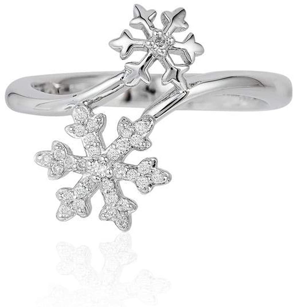 Jewelili Enchanted Disney Fine Jewelry Sterling Silver 1/10CTTW Elsa Disney Ring