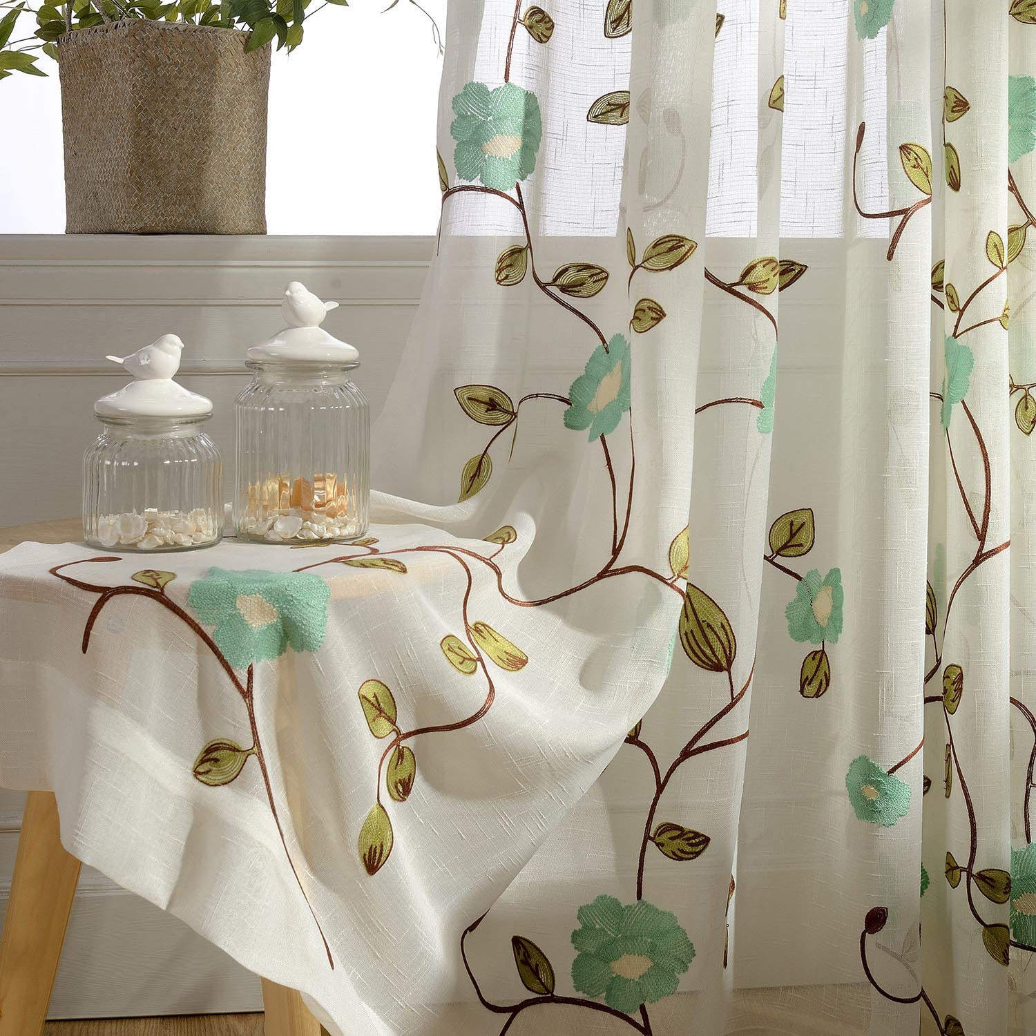 VOGOL Sheer Curtains 96 Inches Long, Blue Floral Embroidered Semi Sheer Rod Pocket Curtains for Living Room/Bedroom, W52 X L96, 2 Pieces