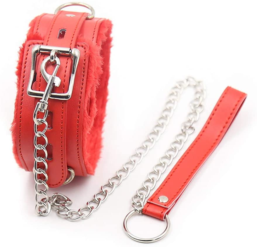 Role Play Game Set Bundled Bound Soft Leather Choker Neck Collar Masquerade Hallowmas Cosplay Costume Accessory with Chain Leash (Red)