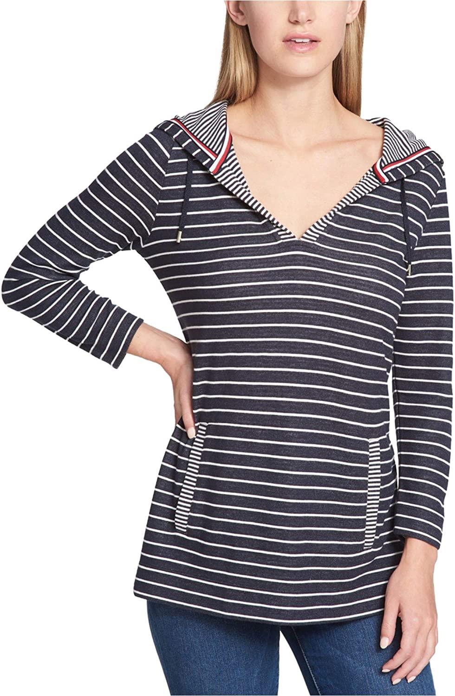 Tommy Hilfiger Womens Striped Hoodie Sweatshirt