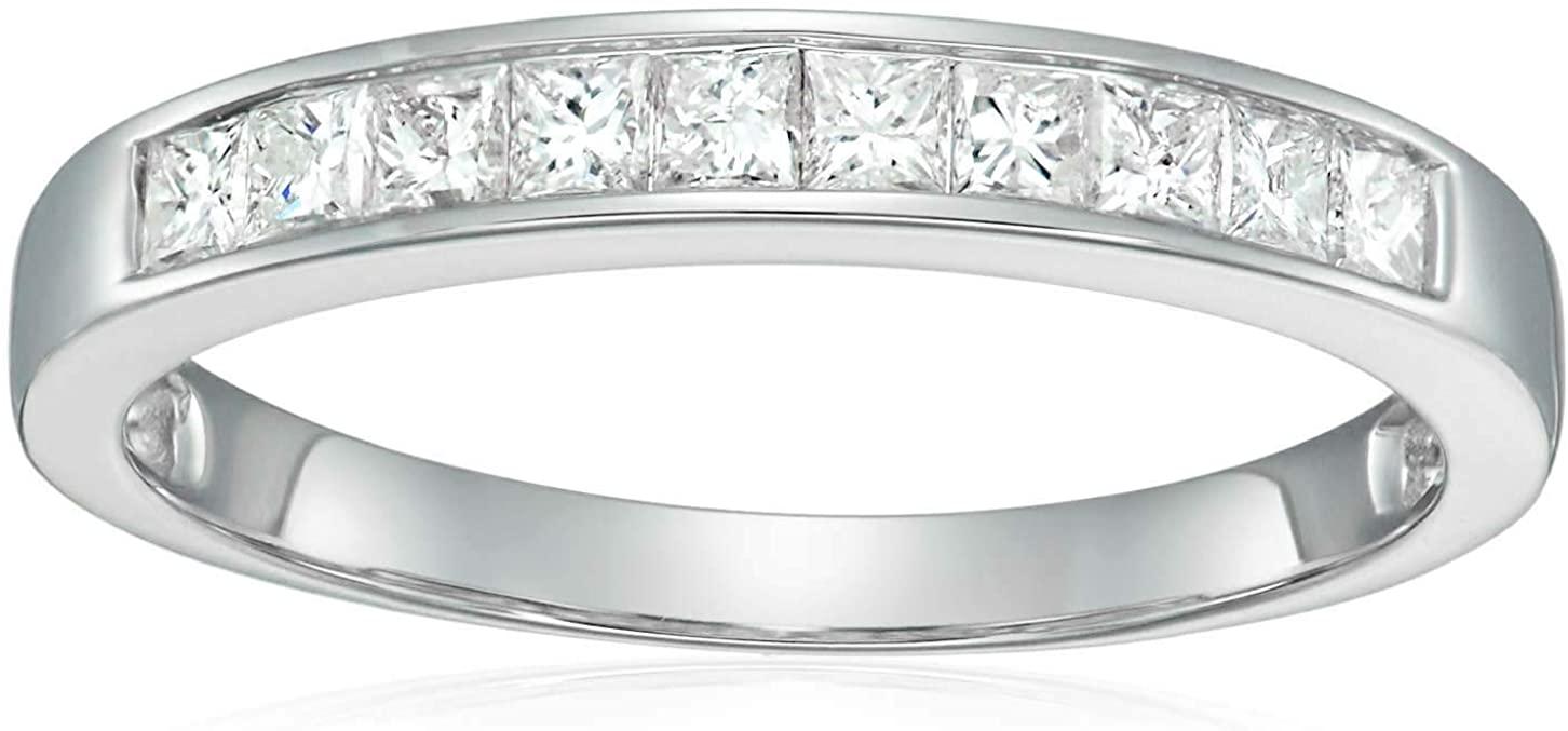 1/2 CT Princess Cut Wedding Band in 14K White Gold